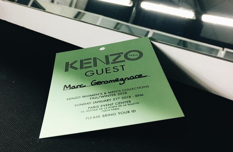 Invitation Kenzo Marc Geromegnace